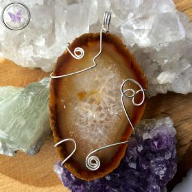 Agate Slice Silver Wire Wrapped Pendant 05